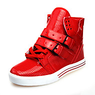 Men's Spring Summer Fall Winter Comfort Leatherette Casual Flat Heel Black Red White
