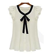 Kortærmet Tynd Dame Hvid Patchwork Sommer Plusstørrelser Skjorte