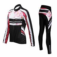Realtoo Žene Dugih rukava Biciklistička majica s tajicama - Crn Cvjetni / Botanički Bicikl Kompleti odjeće, Pad 3D, Ugrijati, Quick dry,