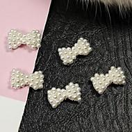 저렴한 -10PCS 화이트 진주 나비 넥타이 합금 손톱 액세서리 네일 아트 장식