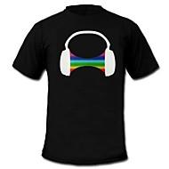LED-T-shirts Lydaktiverede LED-lys Bomuld Originale 2 AAA Batterier