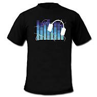 Camiseta com LED Luzes LED Activadas pelo Som Tecido Desenho Animado 2 Baterias AAA