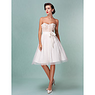 cheap Little White Dresses-A-Line Princess Sweetheart Knee Length Tulle Custom Wedding Dresses with Bowknot Beading Sash / Ribbon Flower by LAN TING BRIDE®
