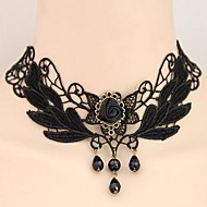 Women's Bib Choker Necklace / Pendant Necklace - Lace Drop, Flower Ladies, Vintage, European, Elegant Black Necklace Jewelry For Wedding, Party, Daily, Cosplay Costumes