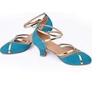 cheap -Women's Modern Shoes Suede Sandal Chunky Heel Non Customizable Dance Shoes Brown / Purple / Light Blue
