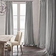 billige Gardiner ogdraperinger-rom darkening naturlig lin lys grå gardin (to paneler)