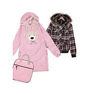 adorável urso casaco com capuz rosa