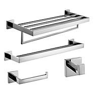 baratos Série Aço Inoxidável-aço inoxidável polido espelho do banheiro conjuntos de acessórios contemporâneos, de 4 peças conjunto de coleta de banho