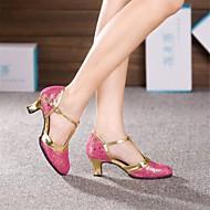 billige Moderne sko-Dame Moderne Lær Høye hæler Spenne Kubansk hæl Sølv Gull Fuksia Lyseblå 5,5 cm Kan ikke spesialtilpasses