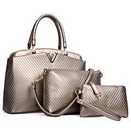 Damen Taschen Kuhfell Bag Set 3 Stück Geldbörse Set für Formal Ganzjährig Gold Weiß Schwarz Dunkelblau