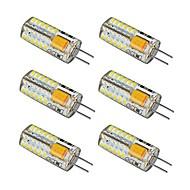 billige Kornpærer med LED-6pcs 2.5 W 150-180 lm G4 LED-lamper med G-sokkel 48 LED perler SMD 3014 Varm hvit / Kjølig hvit 12 V / 6 stk. / RoHs