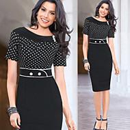 Kadın's Şık & Modern Pamuklu Bandaj Elbise - Noktalı, Modern Stil Diz-boyu