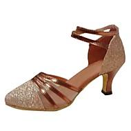 """billige Moderne sko-Dame Moderne Paljett Kunstlær Sandaler Paljett Spenne Stiletthæl Brun 2 """"- 2 3/4"""" Kan ikke spesialtilpasses"""