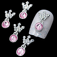 10pcs   Pink Rhinestone Pendant Crown 3D DIY Alloy Accessories Nail Art Decoration