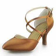 Dame Moderne Sateng Høye hæler Spenne Kubansk hæl Svart Rød Sølv Brun 7,5 cm Kan ikke spesialtilpasses