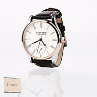 Personalized Gift New Style Men's White Dial Leather  Band  Sport Analog Engraved Watch