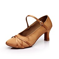 billige Moderne sko-Dame Moderne Sateng Høye hæler Spenne Kustomisert hæl Svart Brun Kan spesialtilpasses