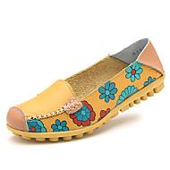 Naiset Kengät Nahka Kevät Comfort Mokkasiinit Tasapohja Pyöreä kärkinen Käyttötarkoitus Kausaliteetti Oranssi Keltainen Fuksia Sininen