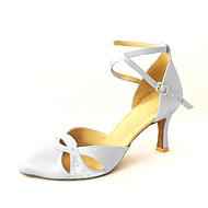 baratos Sapatilhas de Dança-Mulheres Sapatos de Dança Moderna / Dança de Salão Cetim Salto Pedrarias / Presilha Personalizável Sapatos de Dança Bronze / Rosa / Azul