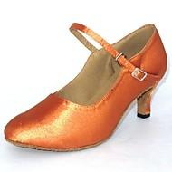 billige Kustomiserte dansesko-Dame Moderne sko Sateng Sandaler Kustomisert hæl Kan spesialtilpasses Dansesko Gyldenbrun / Svart