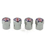 luksus bildæk nationale flag kobber ventiler dekoration cap (uk 4 styk pr pakke)