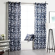 billige Gardiner-Stanglomme Propp Topp Fane Top Dobbelt Plissert Et panel Window Treatment Neoklassisk , Trykk Soverom Polyester Materiale gardiner