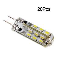 baratos Luzes LED de Dois Pinos-20pcs 1.5 W 100-150 lm G4 Lâmpadas Espiga T 24 Contas LED SMD 3014 Branco Quente / Branco Frio 12 V / 20 pçs