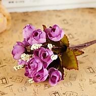 Χαμηλού Κόστους Dining Room-1 Κλαδί Μετάξι Πλαστικό Τριαντάφυλλα Λουλούδι για Τραπέζι Ψεύτικα λουλούδια
