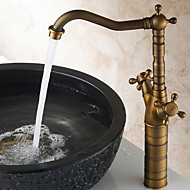 Traditional Two Handles Antique Brass Finish Bathroom Sink Faucet