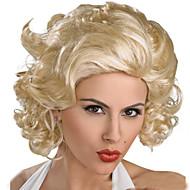 פאות סינתטיות מתולתל / גלי משוחרר / גלי טבעי סגנון תספורת אסימטרית ללא מכסה פאה מוזהב בז' שיער סינטטי 16 אִינְטשׁ בגדי ריקוד נשים שיער טבעי מוזהב פאה קצר פאה למשחקי תפקידים