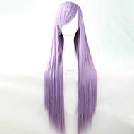 Peruci Sintetice Drept Stil Frizură Asimetrică Fără calotă Perucă Violet Mov Păr Sintetic 28 inch Pentru femei Linia naturală de păr Violet Perucă Lung Halloween Wig