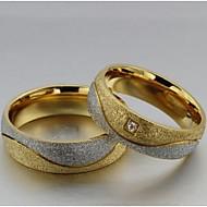 Mulheres Anéis de Casal Maxi anel Amor Aço Titânio Imitações de Diamante Formato Circular Jóias Jóias Casamento Festa Diário Casual