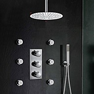Contemporary Wall Mounted Thermostatic Brass Valve Three Holes Three Handles Three Holes Chrome , Shower Faucet