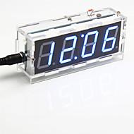 kit relógio de mesa de controle digital de luz display de sete segmentos de 4 dígitos diy (azul claro)