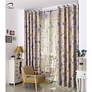 landet curtains® ett panel beige blad utskrift blackout gardin