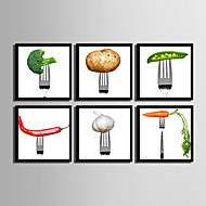 Blomstret/Botanisk / Mat/ Drikke Innrammet Lerret / Innrammet Sett Wall Art,PVC Svart Ingen Passpartou med Frame Wall Art
