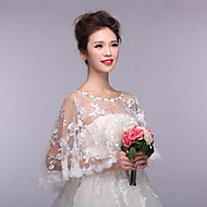 Sleeveless Lace Tulle Wedding Party Evening Wedding  Wraps With Appliques Lace Capelets