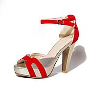 お買い得  特別セール-女性用 靴 レザーレット / フェイクスエード 春 / 夏 スティレットヒール / プラットフォーム ベックル ブラック / レッド