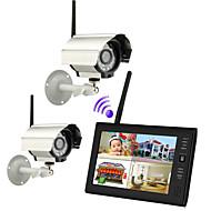 """billige Trådløst CCTV System-ny trådløs 4ch quad dvr to kameraer med 7 """"TFT-LCD monitor hjem sikkerhetssystem"""
