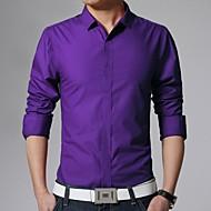 Homens Camisa Social - Trabalho Negócio Básico, Sólido Algodão Colarinho Clássico Delgado / Manga Longa
