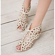 Žene Cipele Umjetna koža Proljeće Ljeto Udobne cipele Niska potpetica za Ured i karijera Formalne prilike Crna Bijela Smeđa