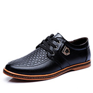 Men's Shoes Leather Spring Summer Fall Winter Comfort Oxfords Lace-up For Casual Office & Career Party & Evening Black Brown