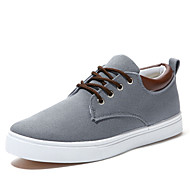 Men's Shoes Canvas Spring Summer Fall Winter Comfort Vulcanized Shoes Lace-up For Casual Office & Career Beige Gray Blue