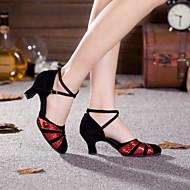baratos Sapatilhas de Dança-Mulheres Sapatos de Dança Moderna / Dança de Salão Paetês / Camurça Salto Presilha Salto Cubano Não Personalizável Sapatos de Dança Preto e Sliver / Black and Gold / Vermelho