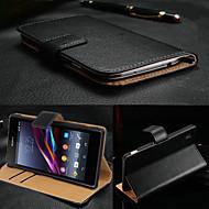 billiga Mobil cases & Skärmskydd-fodral Till Sony Xperia Z3 Sony Xperia Z3 Sony-fodral Korthållare Plånbok med stativ Lucka Fodral Ensfärgat Hårt Äkta Läder för Sony