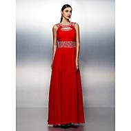 A-kroj Ovalni izrez Do poda Šifon Prom / Formalna večer Haljina s Perlica Drapirano Traka / vrpca po TS Couture®
