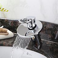 Contemporary Brass Waterfall Bathroom Sink Faucet