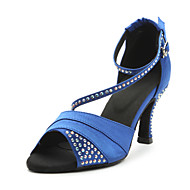 Women's Dance Shoes Latin Satin Heel Blue/Purple Customizable