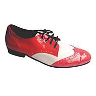 billige Men's Dance Shoes-Herre Swingsko Lær / Kunstlær Lav hæl Kan spesialtilpasses Dansesko Svart / Hvit