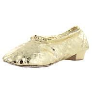 Dame-Dansesko-Magedans Ballett Yoga-Kunstlær-Tykk hæl-Gull